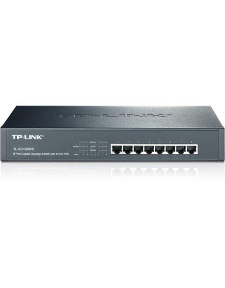 8-port 10/100Mbps Desktop PoE Switch, 4 PoE ports + 4 non PoE ports, 57W PoE Budget TL-SF1008P
